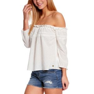 Roxy off the shoulder beach fossil white top